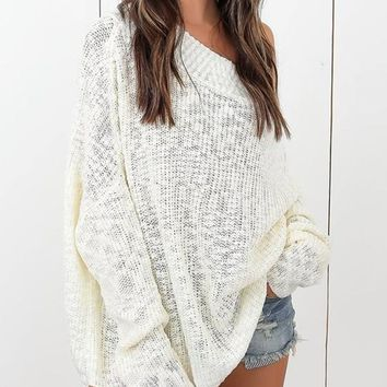 White Off Shoulder Open Back Oversized Dolman Sleeve Pullover Sweater