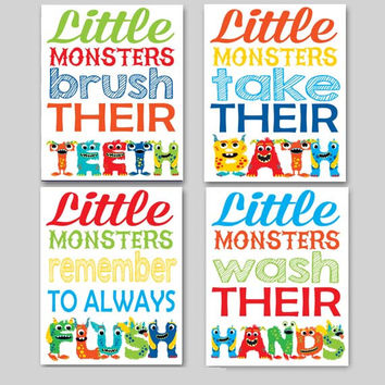 Kids Bathroom Art, Little Monsters 4-Pack, Wash Their Hands, Brush Their Teeth, Take Their Bath, 8x10 11x14 Kids Bathroom Art Boy Bathroom