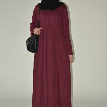 Burgundy Pleated Abaya
