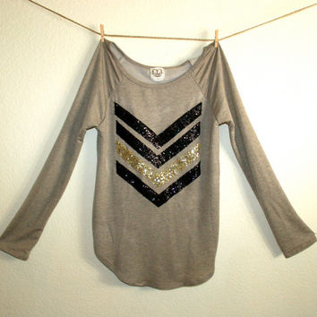 "The ""Dazzle Me Chevron"" w/ Sequin Chevron/Arrow Design Shirt - Liam Payne Tattoo Chevron Shirt"