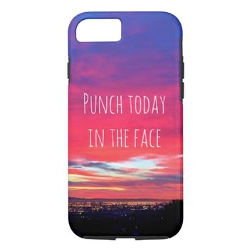 """""""Punch"""" hot pink & blue sunrise cell phone case"""