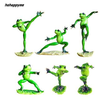 Kung Fu Resin Frogs Statues Miniature Figurines Decorative Animal Composite Model Sculptures Statuette Moderne Crafts Home Decor