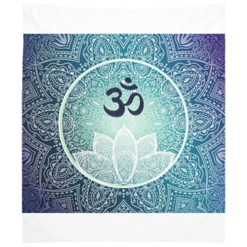 Navy Blue Purple Mandala Lotus Green Flower Bohemian Design Wall Hanging Yoga Meditation Hippie Art