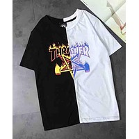 Thrasher Popular Unisex Loose Flame Letter Print Black White Joining Together Short Sleeve T-Shirt Pullover Top I-XMCP-YC