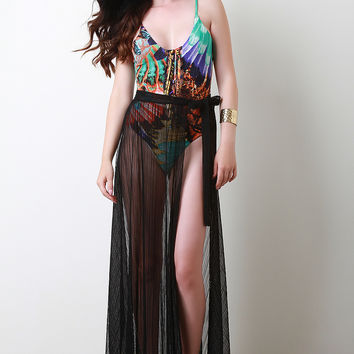 Pleated Mesh Self-Tie Cover Up Maxi Skirt