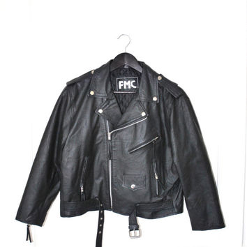 80s small black leather cropped motercycle biker jacket