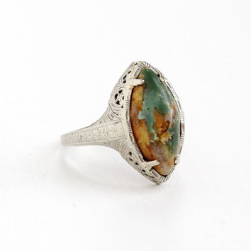 Antique 14k White Gold Filigree Turquoise Ring - Vintage Art Deco 1920s 1930s Green Brown Gemstone Fine Marquise Jewelry