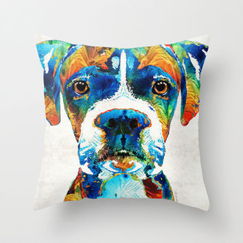 Colorful Boxer Dog Art By Sharon Cummings  Throw Pillow by Sharon Cummings
