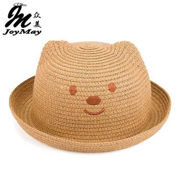 DCCKL3Z 2016 Fashion Straw Hats Summer Baby Ear Decoration Lovely Child Character Girls And Boys Sun Hat Solid Children Floppy C017
