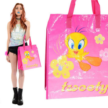 Vintage 90s PVC Looney Tunes TWEETY BIRD Tote Bag Kawaii Rave Club-Kid Grunge Reusable Grocery Shopper Purse *Free Shipping U.S.* vtg