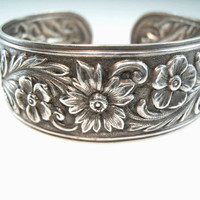 S. Kirk & Son Bracelet Cuff Sterling Silver Floral Repoussé Rose Anemone Dahlia Flowers Leaf Scrolls Vintage 1940s Jewelry