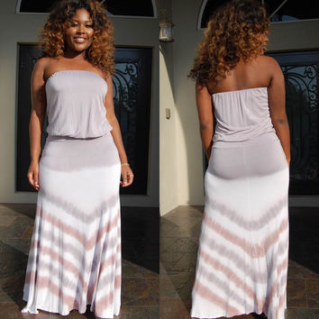 Gray Chevron Strapless Maxi Dress