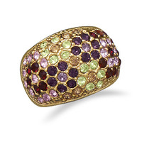 14 Karat Gold Plated Brass Ring with Multicolor CZs
