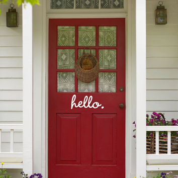 Hello. Cute Decorative Front Door Vinyl Decal Sticker Art
