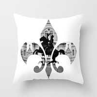 New Orleans Fleur de Lis  pillow home decor cushion fine art photograph living room bedroom furnishing minimalist Jackson Square black white
