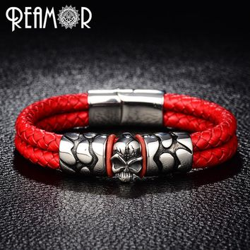 REAMOR Trendy Male Cuff Bracelets Crack Skull Head Double Leather Rope Bangle With 316l Stainless Steel Magnet Clasp Men Jewelry