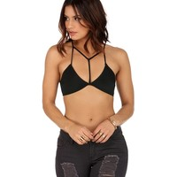 Black To The T-Front Bralette