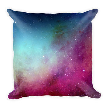 Galaxy Space Magenta Decorative Throw Pillow 18x18