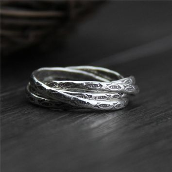 Elegant Multi Layers Twisted Fish Rings Vintage 100% Real 999 Sterling Silver Jewelry For Lady Women Retro Personality Gift