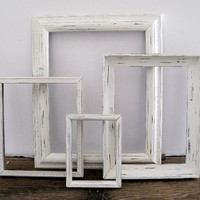 Open Picture Frame Set Of 4 Shabby Chic White Wall Decor