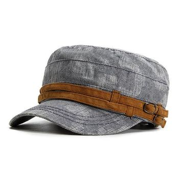 Men Retro Casual Breathable Cotton Military Hat Outdoor Sports Solid Color Flat Cap