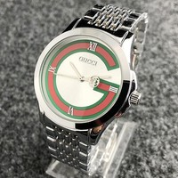"""GUCCI"" New Fashionable Couple Personality Quartz Watch Wristwatch Silvery"
