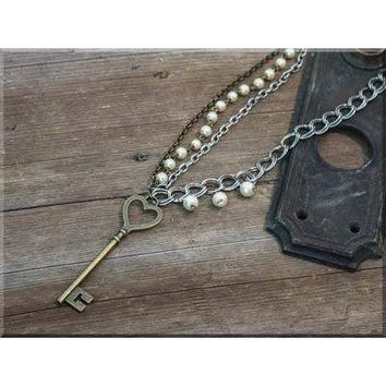 Salvage Skeleton Key Long Necklace