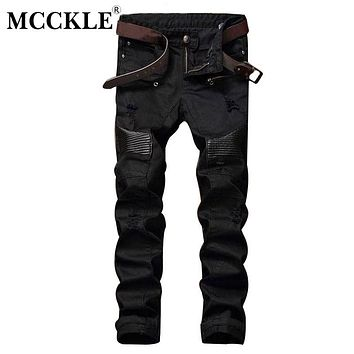 MCCKLE Fashion Designer Mens Ripped Biker Jeans Leather Patchwork Slim Fit Black Moto Denim Joggers  Male Distressed Jeans Pants