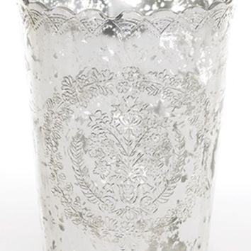 "Mercury Glass Scalloped Desiray Floral Vase in Silver - 5.5"" Diameter by 7"" Tall"