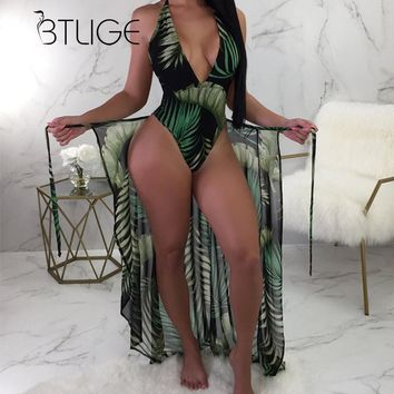 BTLIGE Brazilian One Piece Swimsuit Summer High Cut Beach Bodysuit+Bikini Cover Up Leaves Print Halter 2PCS Swimwear High Waist