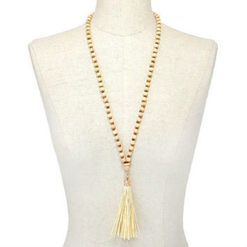 Gold & Ivory Tassel Drop Wood Bead Strand Long Necklace