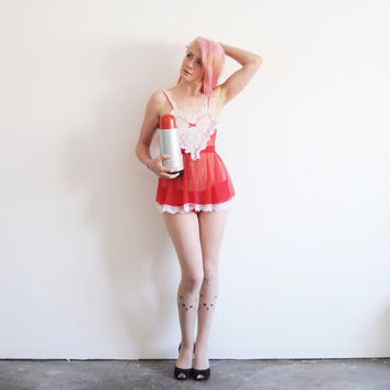 cupids heart mini dress lingerie . boudoir sheer lace apron .small