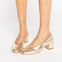 Carvela Antidote Gold Leather Mid Heeled Shoes at asos.com