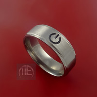 Titanium Power Symbol Computer Geek Ring Made to Any Sizing, Color, and Finish Sizes 3-22