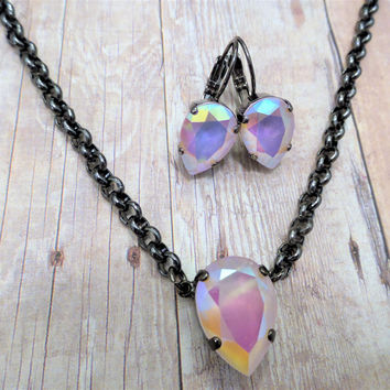 Stunning Swarovski Crystal Pear Pendant and Earring Set, Powder Pink AB, Hematite Setting, DKSJewelrydesigns, FREE SHIPPING.