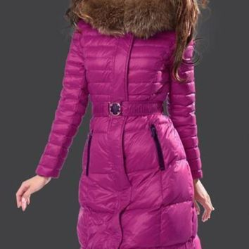 DCK7YE Moncler Fur Hooded Long Down Coat Womens Luxury Outerwear 8815