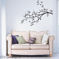 Music tree wall decal, bird wall decal, living room wall decal, tree wall decal, music note wall decal, music wall decal, lyric wall decal