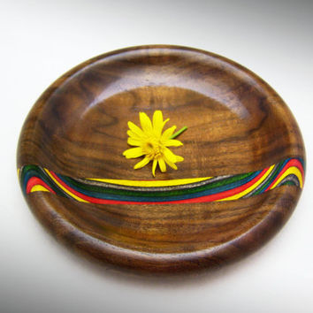 Decorative Wood Plate in Black Walnut - Inlayed Rainbow Birch Wood Dish