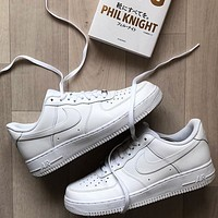 Nike Air Force 1 Hot Sale Couple Pure White Sneakers Shoes