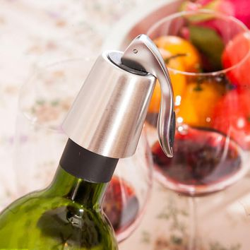 Stainless Steel Red Wine Bottle Stopper Vacuum Sealed Bottle Plug Creative Bar Tool LX1865
