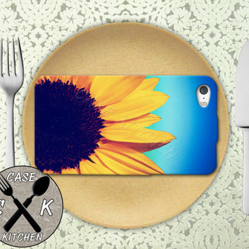 Sunflower Gradient Ombre Background Blue Flower Cute Rubber Tough Case For iPhone 4/4s and iPhone 5 and 5s and 5c and iPhone 6 and 6 Plus +