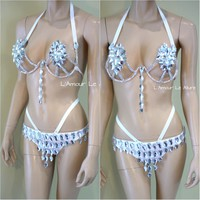 Silver Rihanna Diamond Samba Cage Bra with Bottom