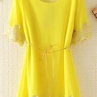 Chiffon Top with Lace Rim with Thin Belt EDGV645 from topsales
