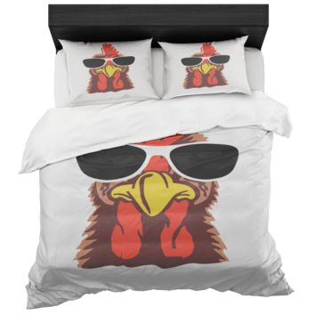 Chicken Duvet Cover And Standard Pillow Sham King And Queen Sizes Microfiber Fabric