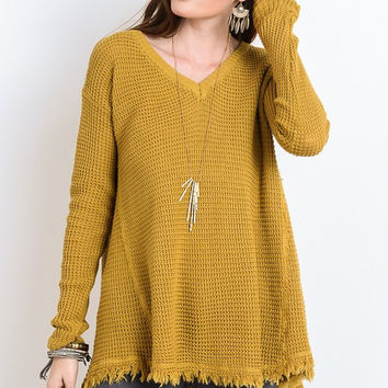 Fringe Pullover Sweater - Mustard