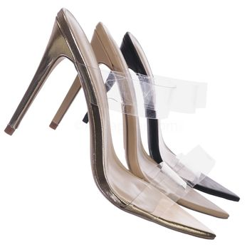 Exception24 Lucite Strap Mule Sandal - Women Pointed Toe High Heel Clear Strap