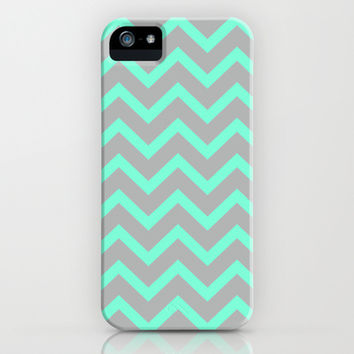 Tiffany Mint Grey Zigzag Chevron Pattern iPhone & iPod Case by RexLambo