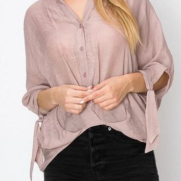Kirstie Draped Front Top in Mauve