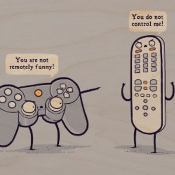 'Controlling' Funny Video Game Controller & TV Remote Arguing - Plywood Wood Print Poster Wall Art