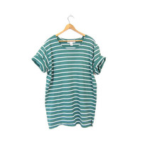 Basic 90s Cotton Shirt Oversized Striped Green White TShirt 1990s Preppy Tunic Top Simple Slouchy Shirt Vintage Womens Large
